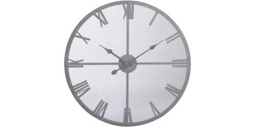 Framed Mirrored Grey Wall Clock