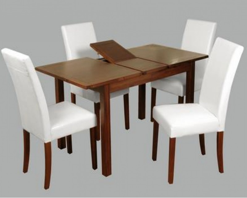 Hilton Acacia Leather Extending Dining Set