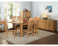 Tamworth Solid Oak / Oak Veneer 4' extension dining set (Extended)