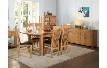 Tamworth Solid Oak / Oak Veneer 4' extension dining set (Extended)