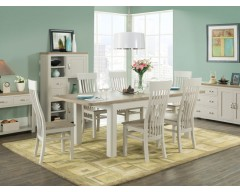 Tamworth Painted Solid Oak / Oak Veneer 6' extension dining set (Extended)