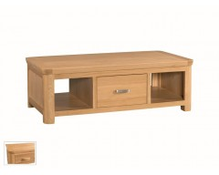 Tamworth Solid Oak / Oak Veneer Large Coffee Table with Drawer