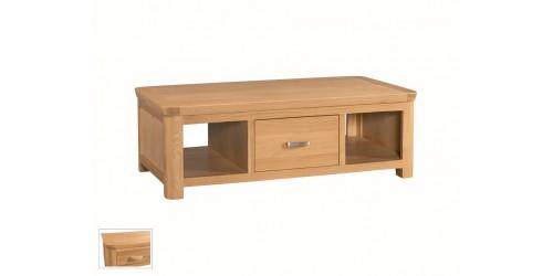 Tamworth Solid Oak / Oak Veneer Large Coffee Table with Drawer