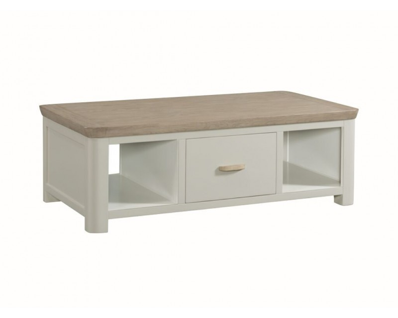 Tamworth Painted Solid Oak / Oak Veneer Large Coffee Table with Drawer