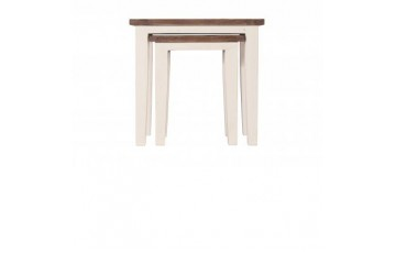Canterbury Painted White Nest Of Tables - Solid Reclaimed Wood