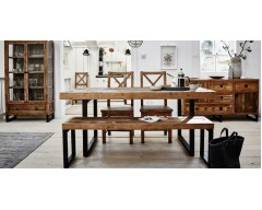 Nassau Extending 140cm - 180cm Dining Table in Solid Reclaimed Wood
