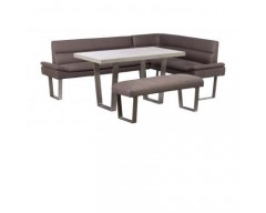 Paris Steel / Wooden Group (Bench, 135cm Dining Table & Corner Sofa)
