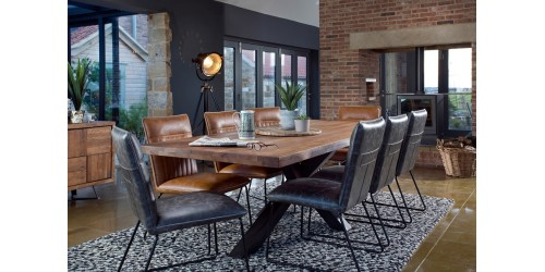 Saka Oak 2.4m Dining Table with Steel Base