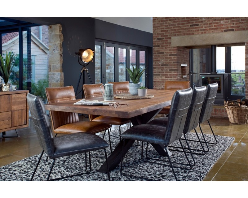 Saka Oak 2m Dining Table with Steel Base