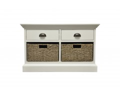 Wicker 2 Drawer 2 Basket Unit
