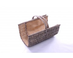 Wicker 2 Half Pipe Log Baskets