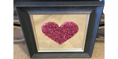 Pink Heart Framed Wall Art 55x55cm - CLEARANCE