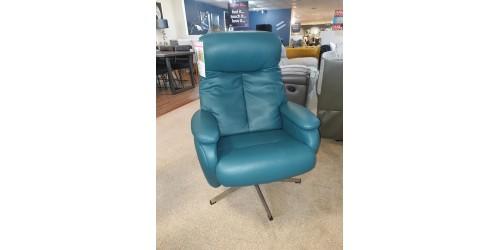 Santorini Leather Swivel Chair & Footstool - CLEARANCE