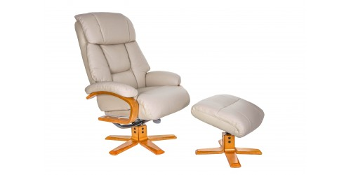 Napoli Reclining Swivel Chair with Footstool