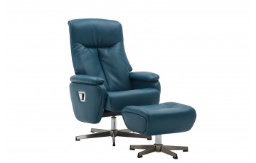 Santana Reclining Swivel Chair with Footstool