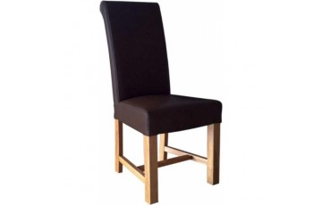 Chunky Scroll Oak Dining Chair in Brown