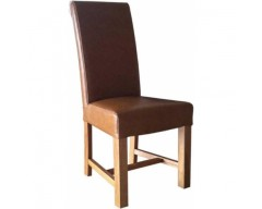 Chunky Scroll Oak Dining Chair in Tan