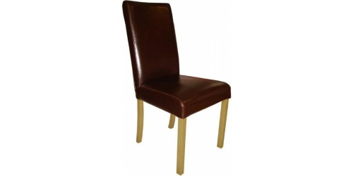 Anna Leather Dining Chair in Brown