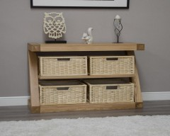 New York Solid Oak Basket Console Table