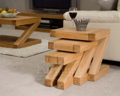New York Solid Oak Nest of 3 Tables