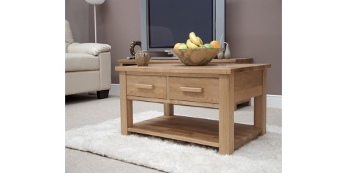 Sherwood Deluxe 3ft x 2ft 2 Drawer Oak Coffee Table