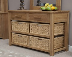 Sherwood Deluxe Hall Table Basket Unit in Oak