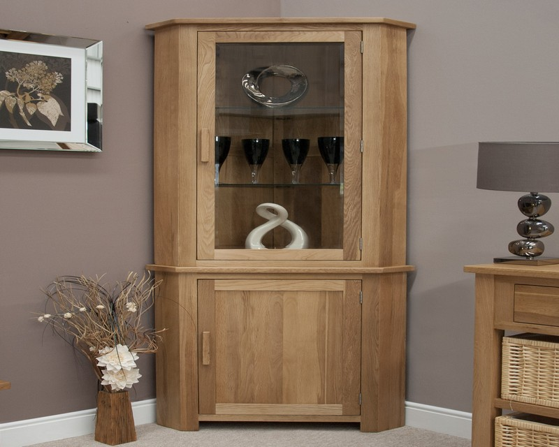 Sherwood Deluxe Corner Display Unit in Oak