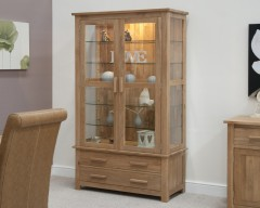 Sherwood Deluxe Glass Display Cabinet in Oak
