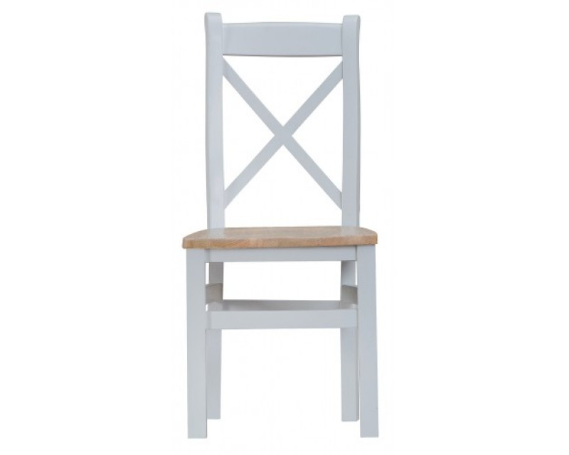 Trieste Cross-Back Dining Chair with Wooden Seat