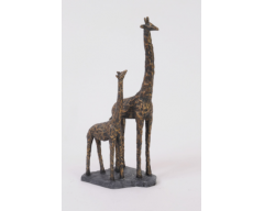 Antique Bronze Mother And Baby Giraffe Resin Sculpture