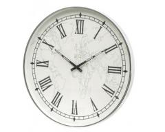 Greenson Map Face - Nickel Wall Clock