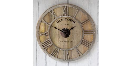 Raw Nickel & Mango Wood Round Wall Clock