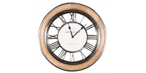 Polished Nickel & Mango Wood Round Wall Clock