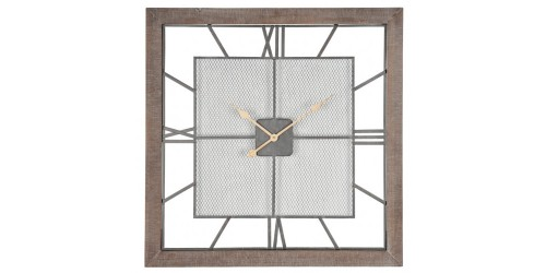 Natural Wood & Metal Square Wall Clock
