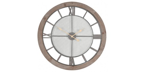 Natural Wood & Metal Round Wall Clock