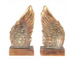 Antique Gold Polyresin Angel Wings S/2 Book Ends