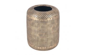 Antique Brass Metal Cylinder Vase Large