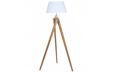 Natural Bamboo Wood Tripod Floor Lamp Complete