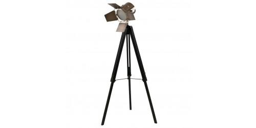 Black Wood Film Light & Antique Brass Head (Floor Lamp)