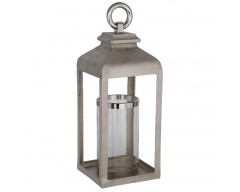 Large Aluminium Shiny Nickel Cast Square Lantern