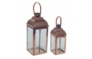 Copper Metal & Glass Set of 2 Lanterns