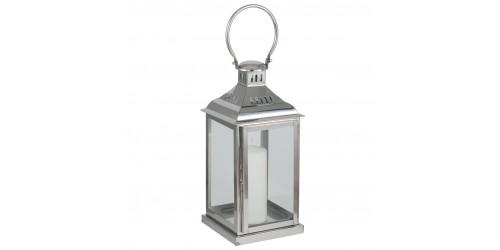 Polished Nickel & Glass Square Lantern Small