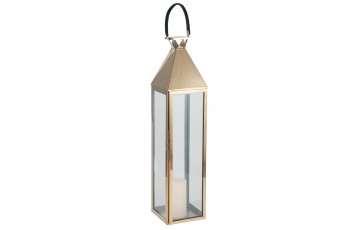 Shiny Gold Stainless Steel & Glass Large Lantern