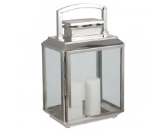 Shiny Nickel Stainless Steel Oblong Lantern Large
