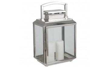 Shiny Nickel Stainless Steel Oblong Lantern Large