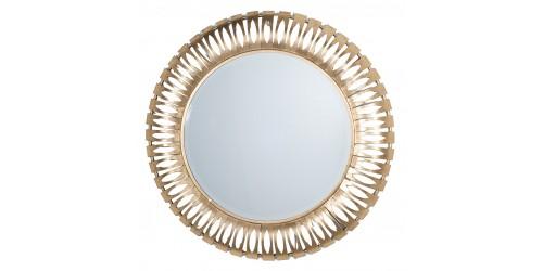 Antique Gold Round Metal Wall Mirror