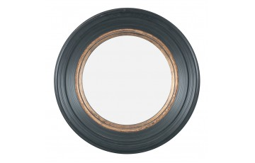 Black & Gold Polyresin Round Convex Mirror Large