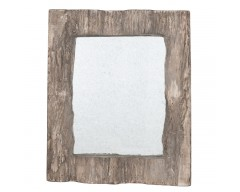 Aged Wood Effect Polyresin Oblong Wall Mirror