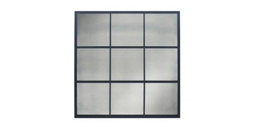 Matt Black Metal 9 Pane Mirror with Foxed Glass