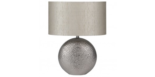 Chrome Hammered Ceramic Lamp Complete